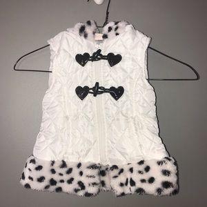 Little Lass Girls Hooded Vest 24 Mon White Leopard